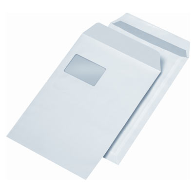 Briefumschläge C4, selbstklebend, mit Fenster, 90g/m²