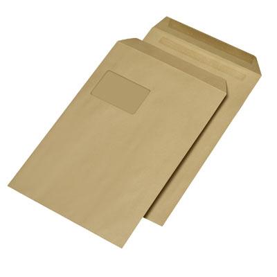Briefumschläge C4, selbstklebend, mit Fenster, 90g/m², braun/natron